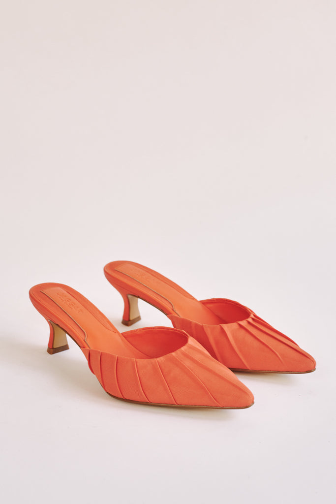 RUCHED KITTEN HEEL orange