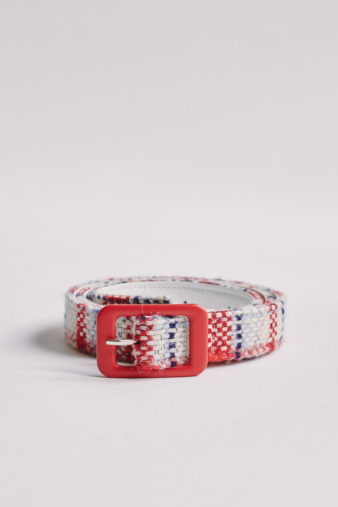 VINTAGE CHECK BELT white multi