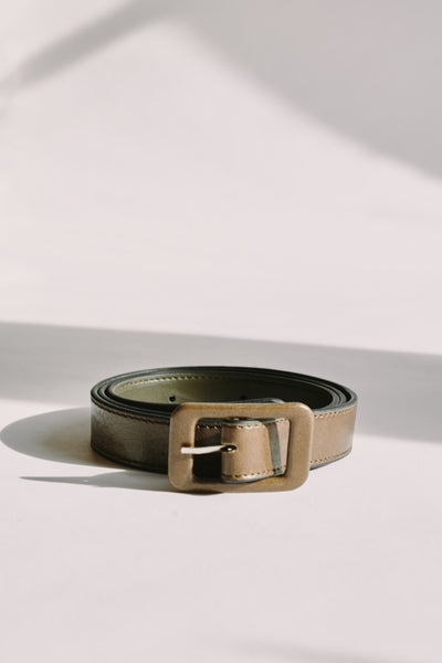 VINTAGE LEATHER BELT olive