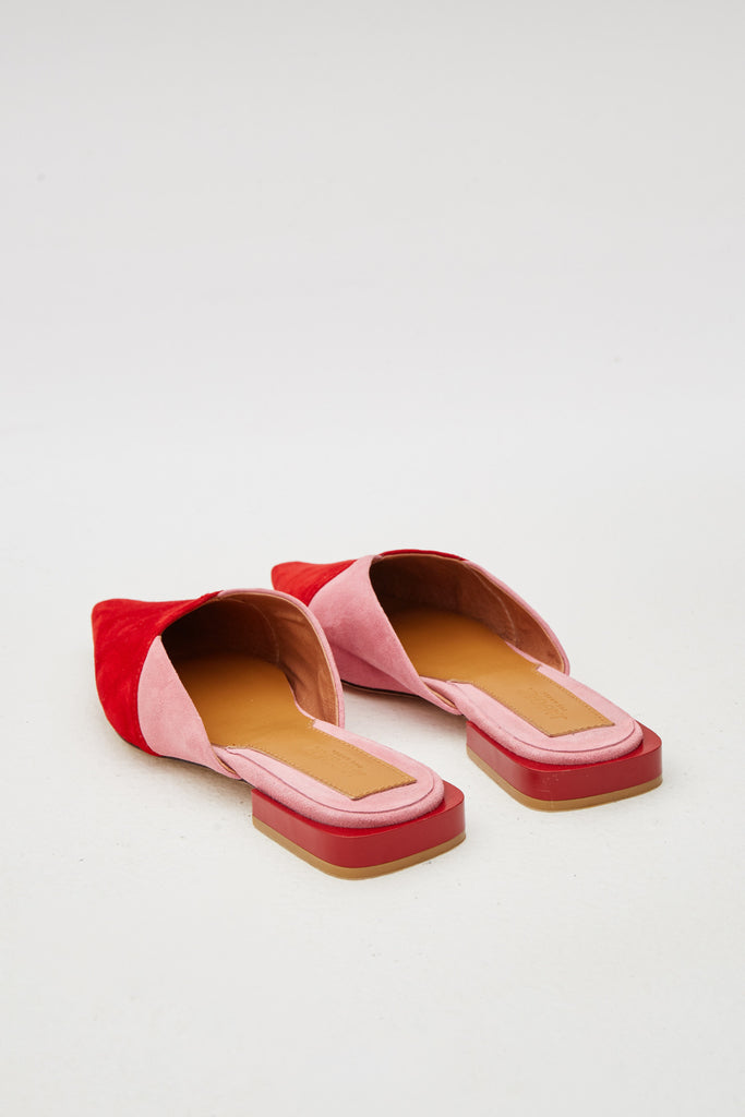 LAYERED SUEDE FLAT red