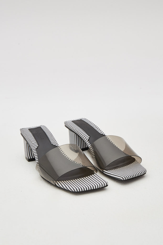 PVC STRIPE SLIDE black w white