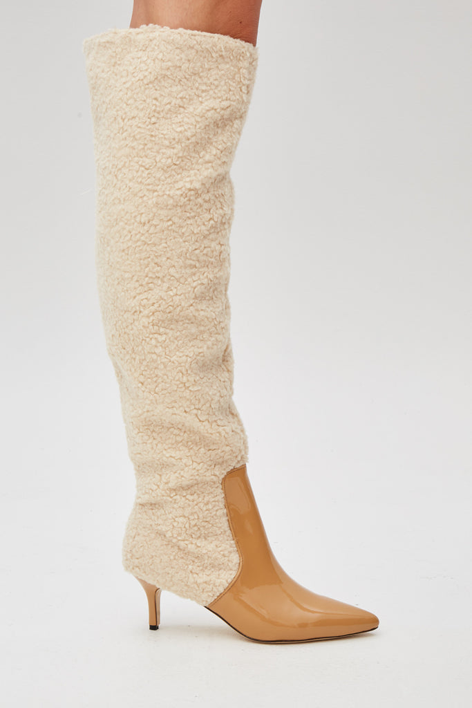 PIPED SHEARLING BOOT oatmeal