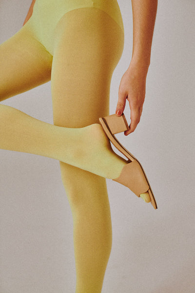 SCALLOP LEATHER HEEL nougat
