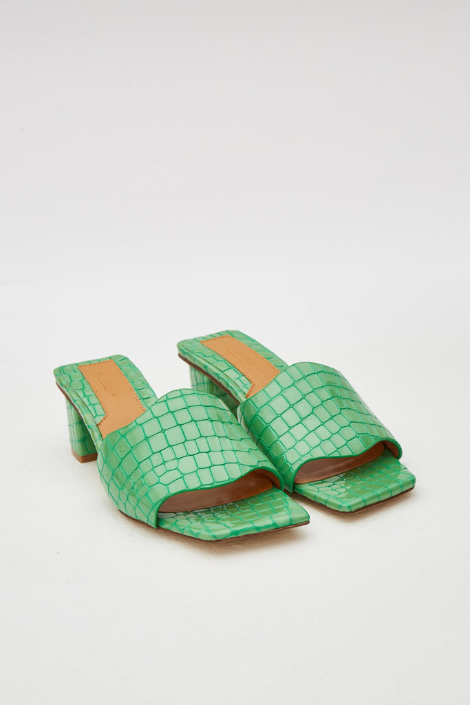 SCALLOP CROC HEEL lime green