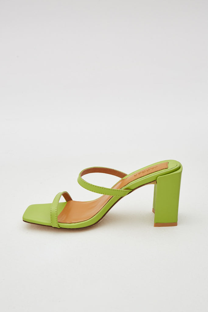 SQUARE HEEL lime green