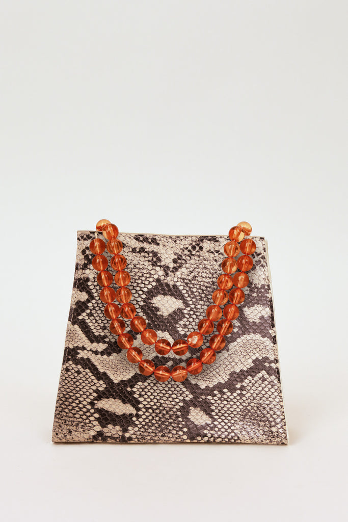 BEADED SNAKE BAG grey