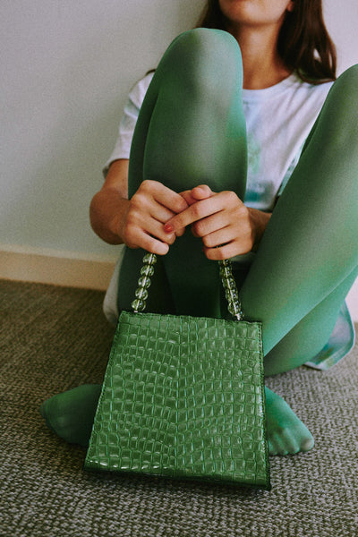 BEADED CROC BAG lime green