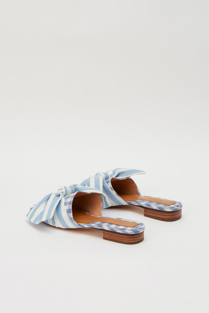BOW STRIPE FLAT blue w white