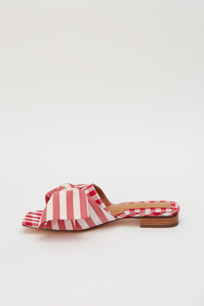 BOW STRIPE FLAT red w white