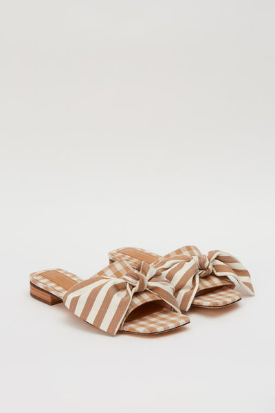 BOW STRIPE FLAT toffee w white
