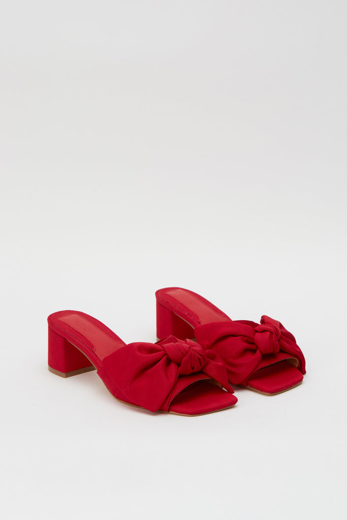 BOW FABRIC HEEL red