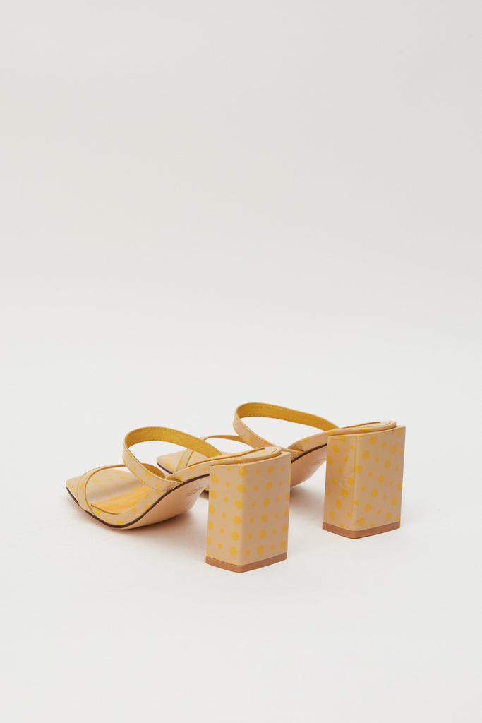 SQUARE SPOT HEEL nude w yellow