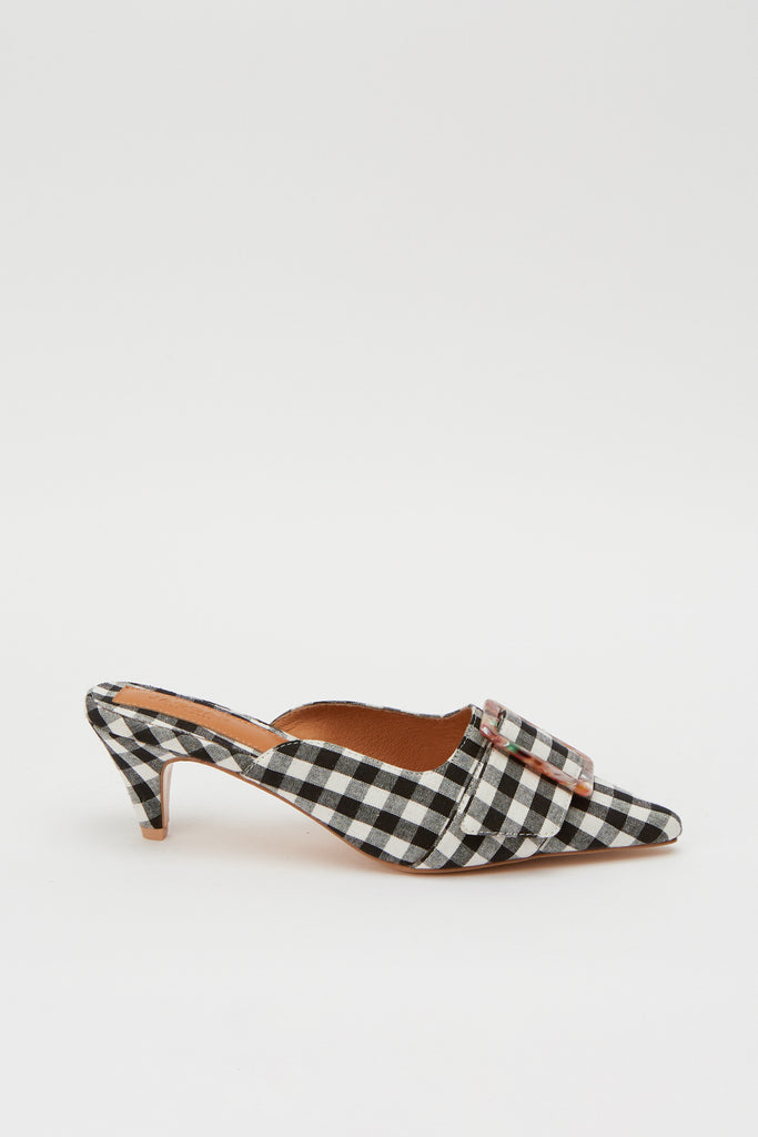 BUCKLE MULE black w white