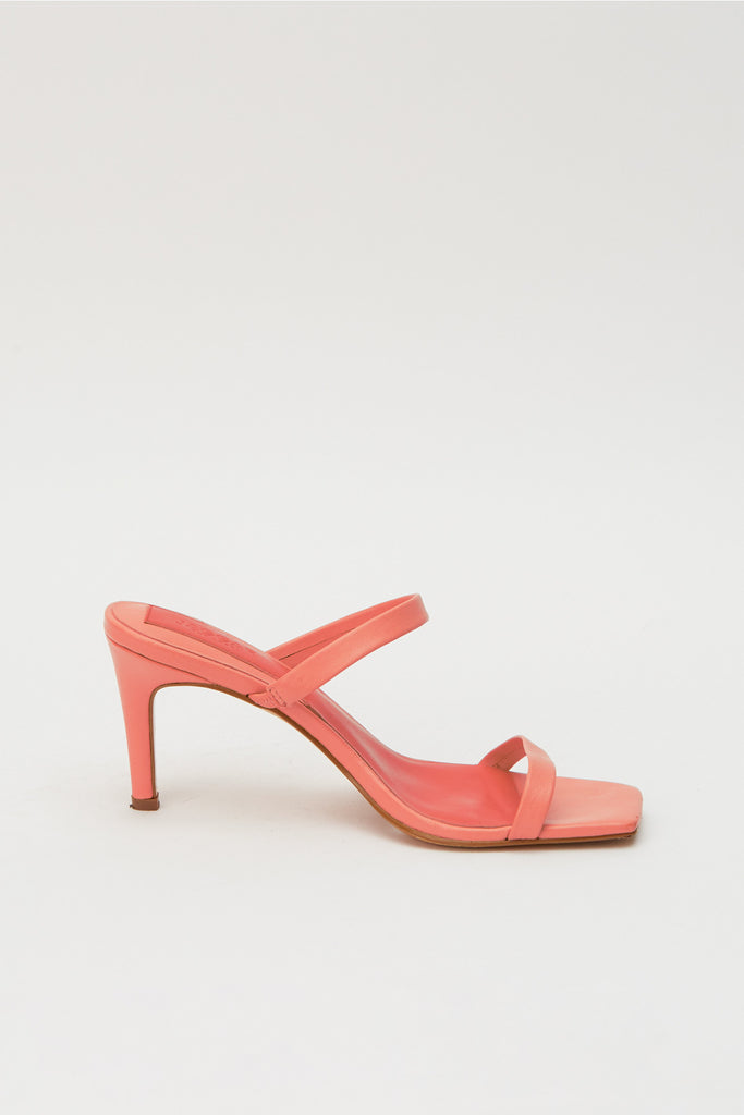 TWO STRAP LEATHER HEEL coral