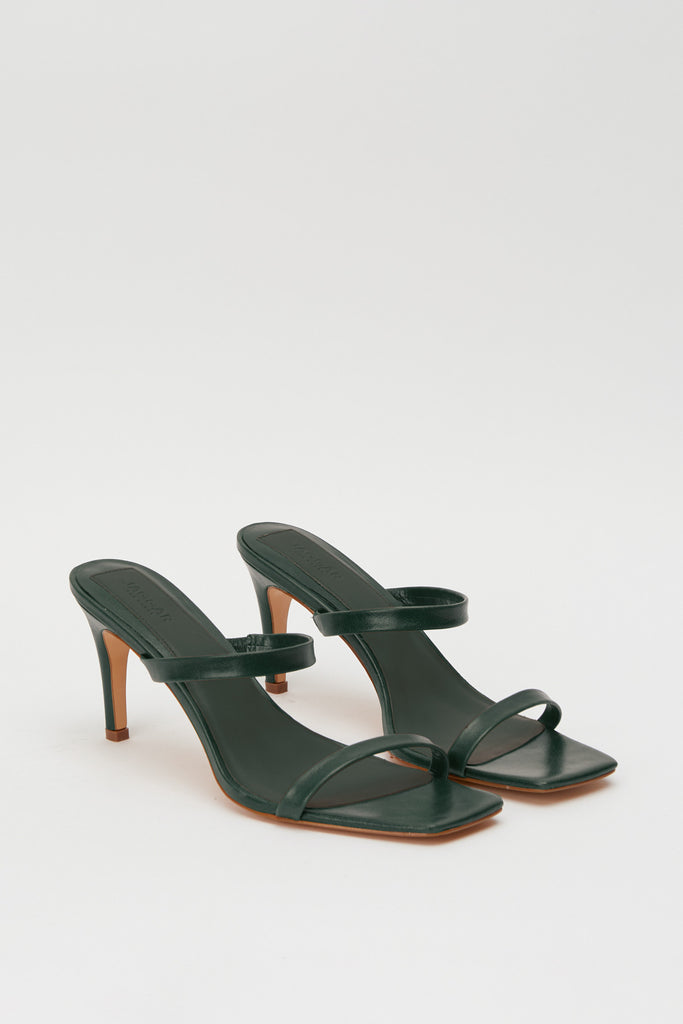 TWO STRAP LEATHER HEEL forest