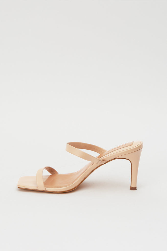 TWO STRAP LEATHER HEEL ivory cream