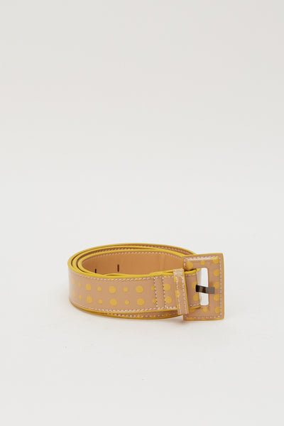 RECTANGLE SPOT BUCKLE BELT nude w yellow