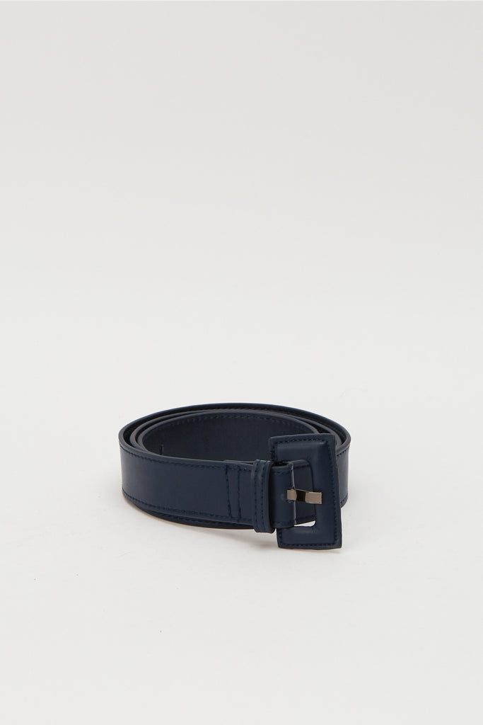 RECTANGLE BUCKLE BELT navy