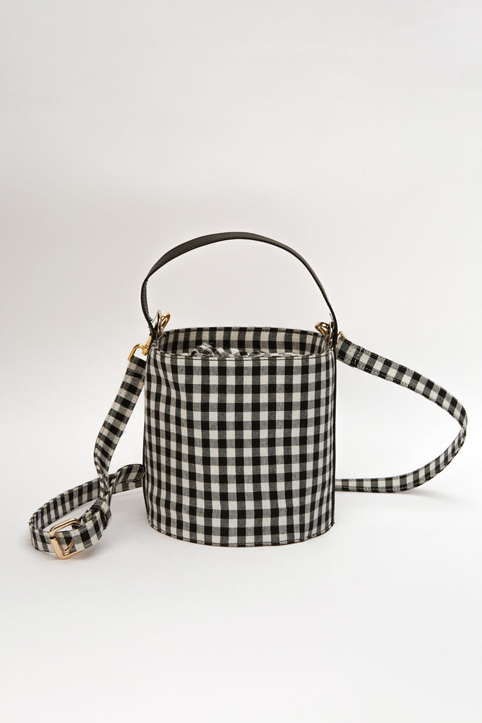 BUCKET BAG black w white