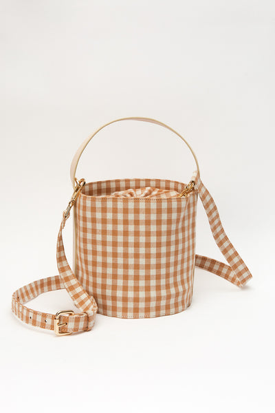 BUCKET BAG toffee w white