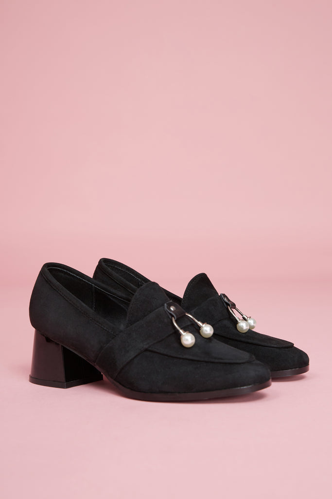INTERMIX LOAFER HEEL black