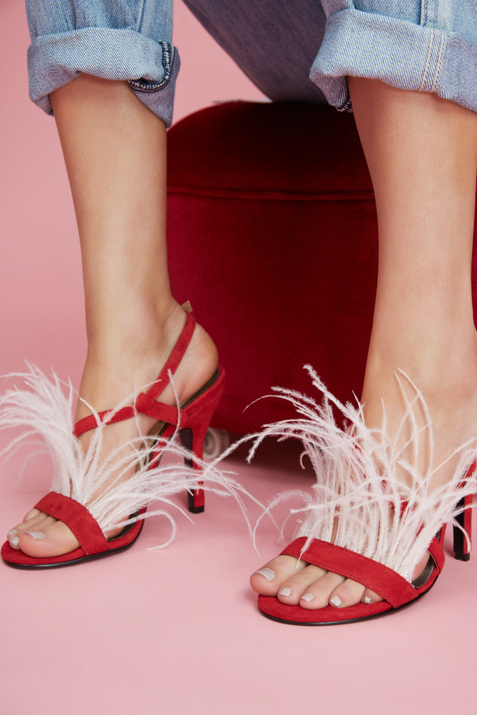 FEATHERED HEEL red