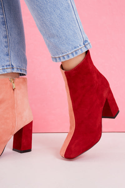 BLOCKED SUEDE BOOT cranberry