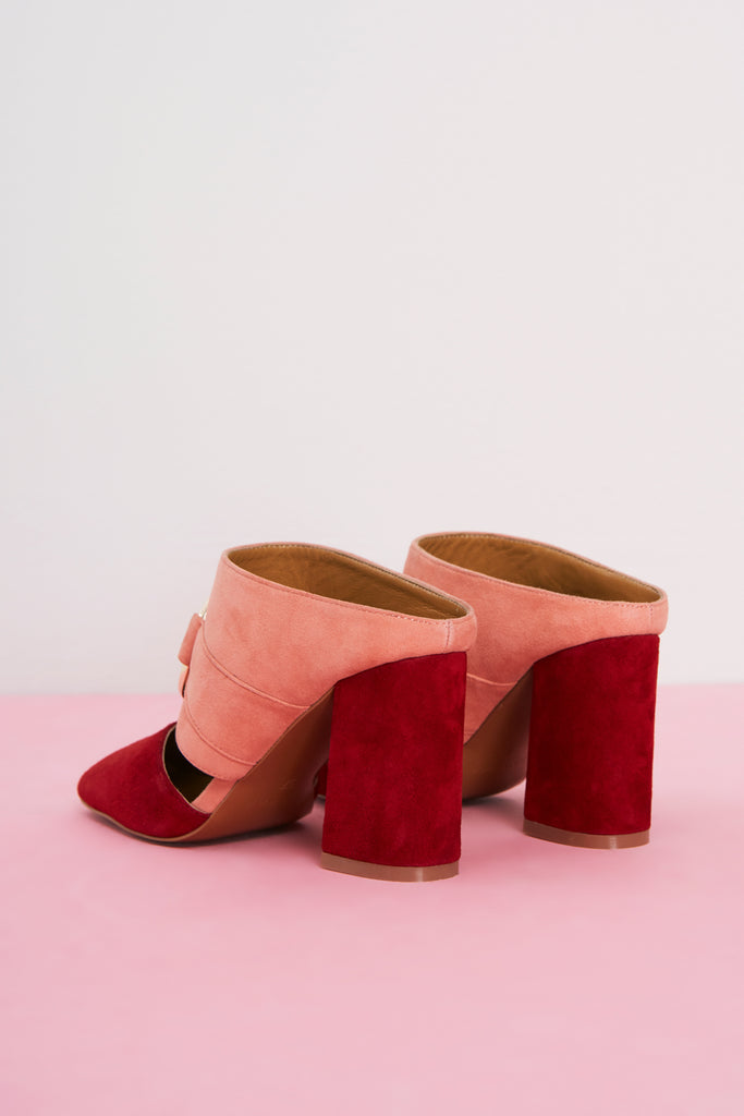 STAND UP SUEDE HEEL peach
