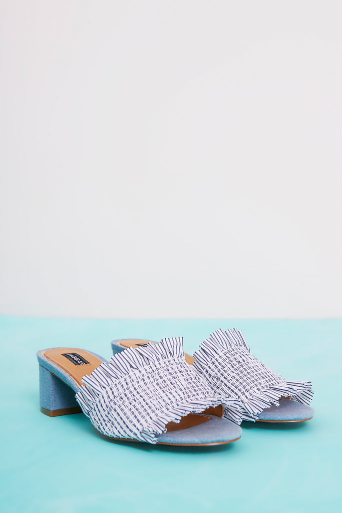 STITCHED STRIPE BLOCK HEEL blue stripe