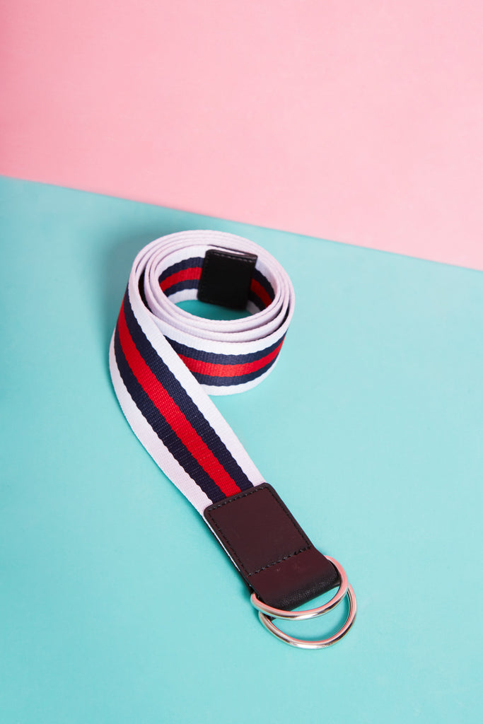 STRIPE BELT - SILVER navy