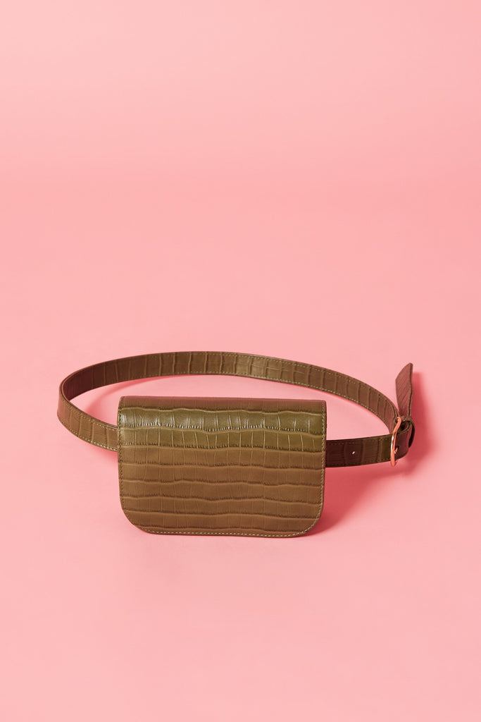 BELT BAG CROCODILE olive