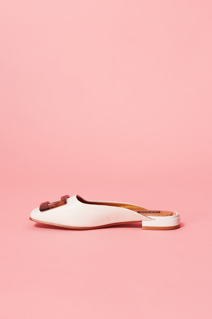 CROWN LEATHER MULE ivory