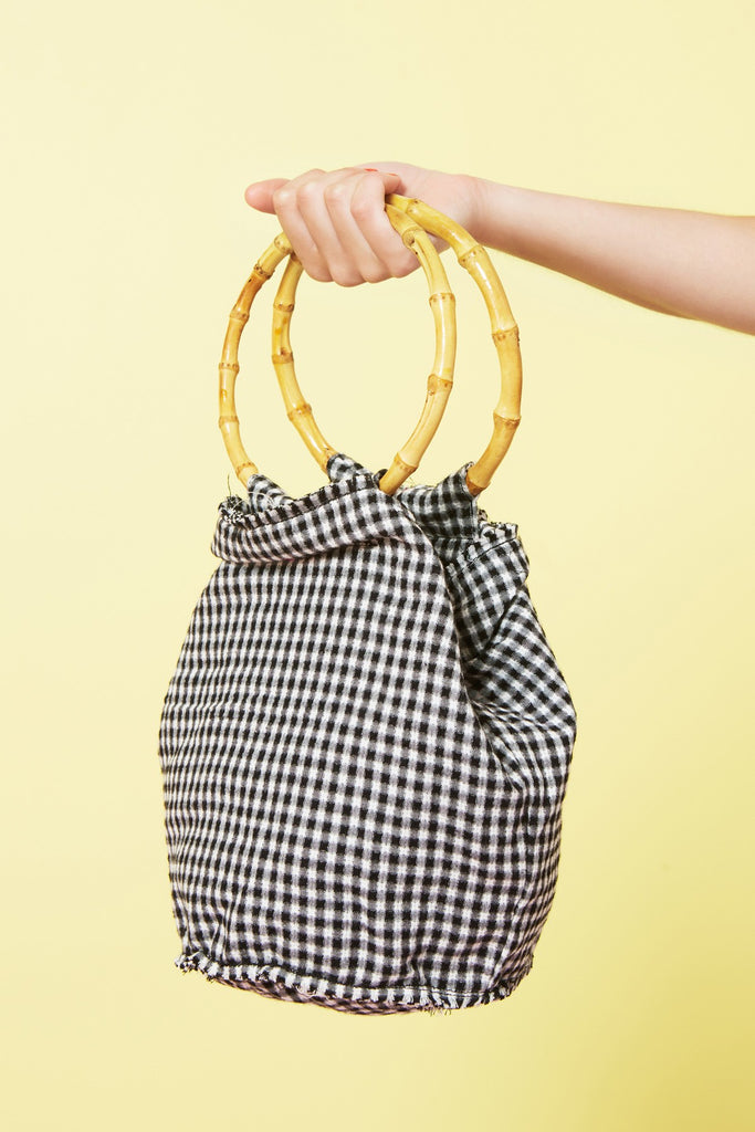 BAMBOO GINGHAM BAG black