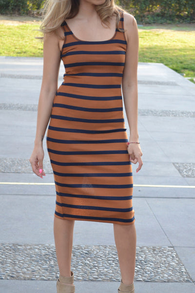 Striped Sleeveless Bodycon Dress