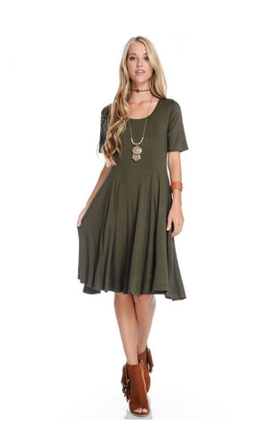 Olive Fit and Flare Dress