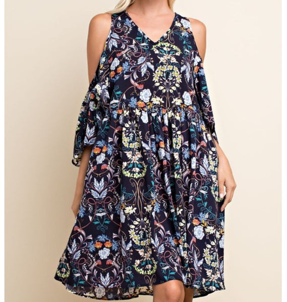 143 Story Cold Shoulder Floral Dress