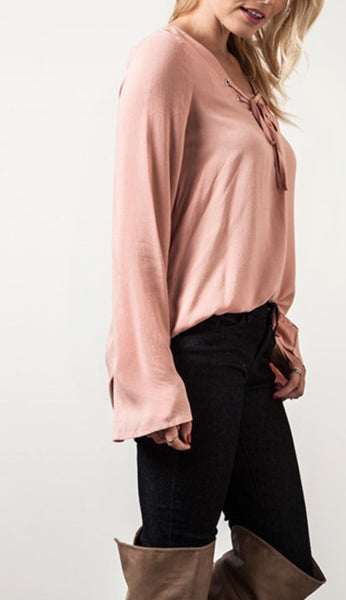 Bell Sleeve Lace Up Top