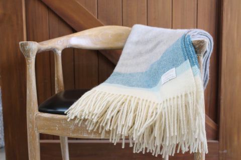 Mt Somers Station Lambs Wool Blanket - Blue End Stripe Basket Weave