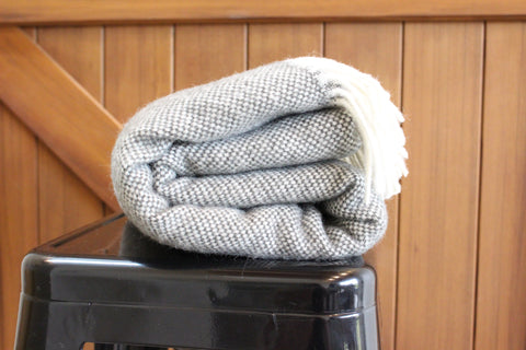 Mt Somers Station Lambs Wool Blanket - Charcoal Basket Weave