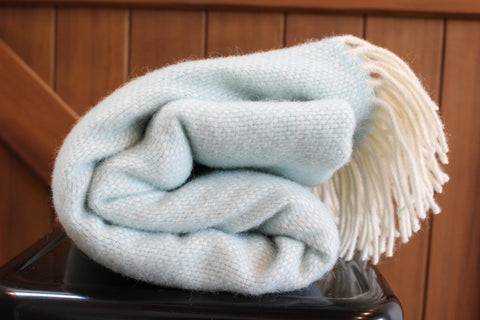 Mt Somers Station Lambs Wool Blanket - Duck Egg Blue Basket Weave