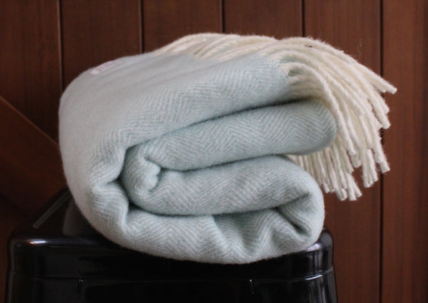 Mt Somers Station Lambs Wool Blanket - Duck Egg Blue