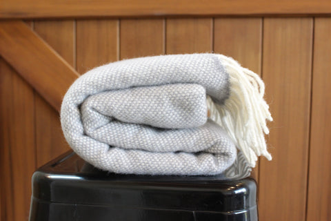 Mt Somers Station Lambs Wool Blanket - Soft Grey Basket Weave