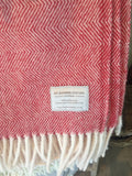 Mt Somers Station Lambs Wool Blanket - Raspberry Herringbone