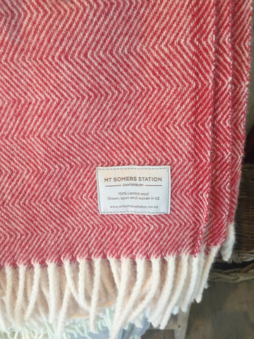 Mt Somers Station Lambs Wool Blanket - Raspberry