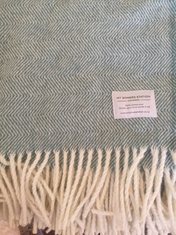 Mt Somers Station Lambs Wool Blanket - Seagrass