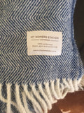 Mt Somers Station Lambs Wool Blanket - Blue Herringbone