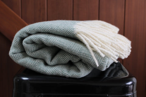 Mt Somers Station Lambs Wool Blanket - Seagrass Herringbone