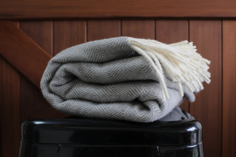 Mt Somers Station Lambs Wool Blanket - Soft Grey Herringbone