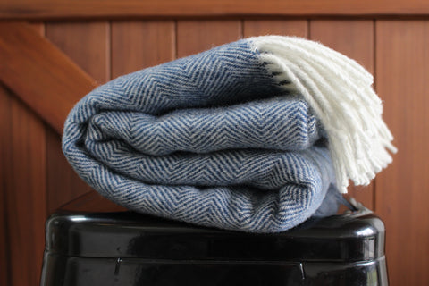 Mt Somers Station Lambs Wool Blanket - Blue