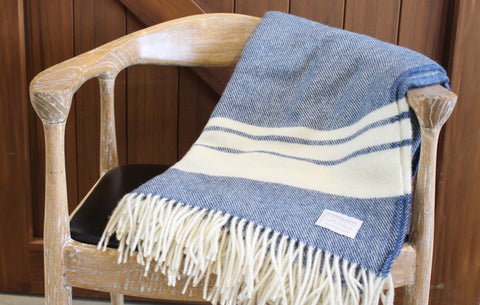 Mt Somers Station Lambs Wool Blanket - Blue Stripe